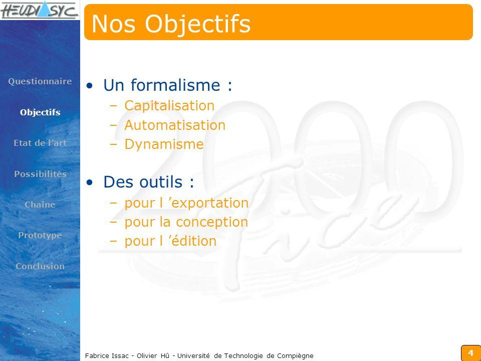 4 Fabrice Issac - Olivier Hû - Université de Technologie de Compiègne Nos Objectifs Un formalisme : –Capitalisation –Automatisation –Dynamisme Des out