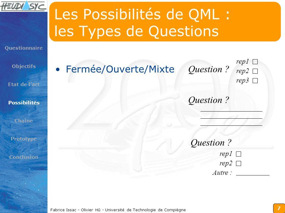 7 Fabrice Issac - Olivier Hû - Université de Technologie de Compiègne Les Possibilités de QML : les Types de Questions Fermée/Ouverte/Mixte Questionna