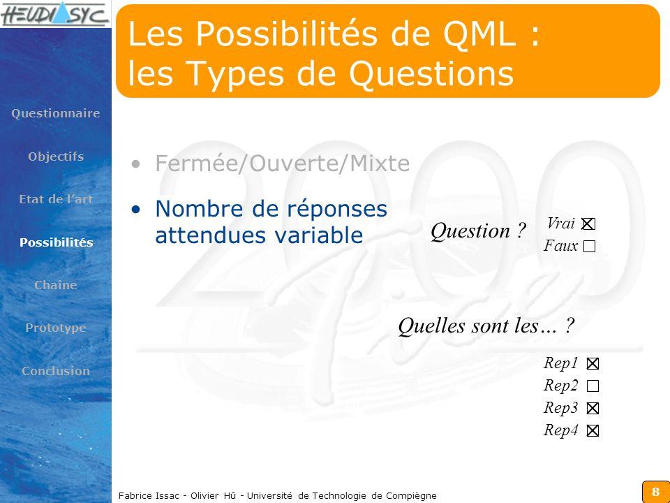 8 Fabrice Issac - Olivier Hû - Université de Technologie de Compiègne Les Possibilités de QML : les Types de Questions Fermée/Ouverte/Mixte Nombre de