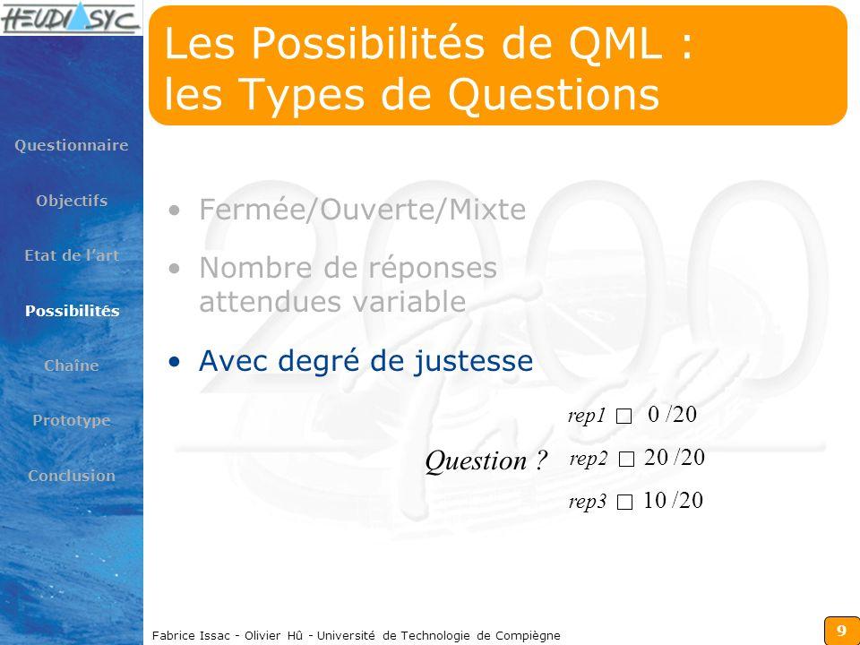 9 Fabrice Issac - Olivier Hû - Université de Technologie de Compiègne Les Possibilités de QML : les Types de Questions Fermée/Ouverte/Mixte Nombre de
