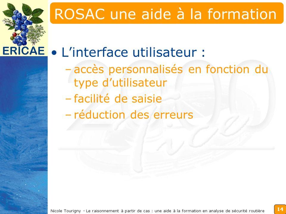 14 Nicole Tourigny - Le raisonnement à partir de cas : une aide à la formation en analyse de sécurité routière ROSAC une aide à la formation Linterface utilisateur : –accès personnalisés en fonction du type dutilisateur –facilité de saisie –réduction des erreurs