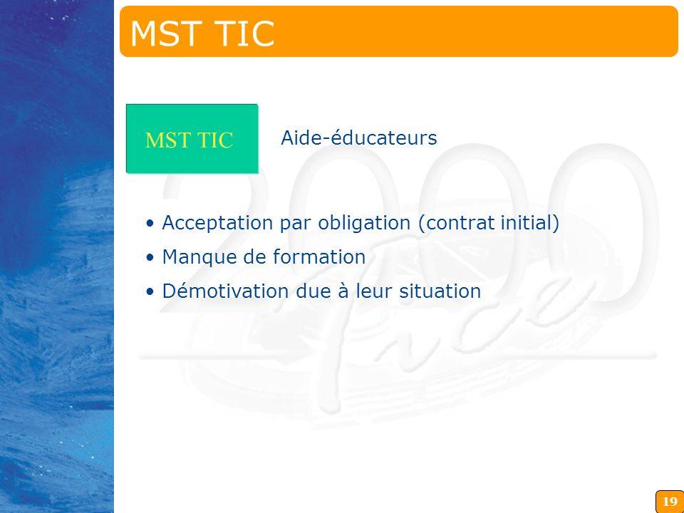 18 MST TIC Formation initiale Pas de problème pour l utilisation des outils Concept très difficile à faire passer Culture d acquisition des connaissan