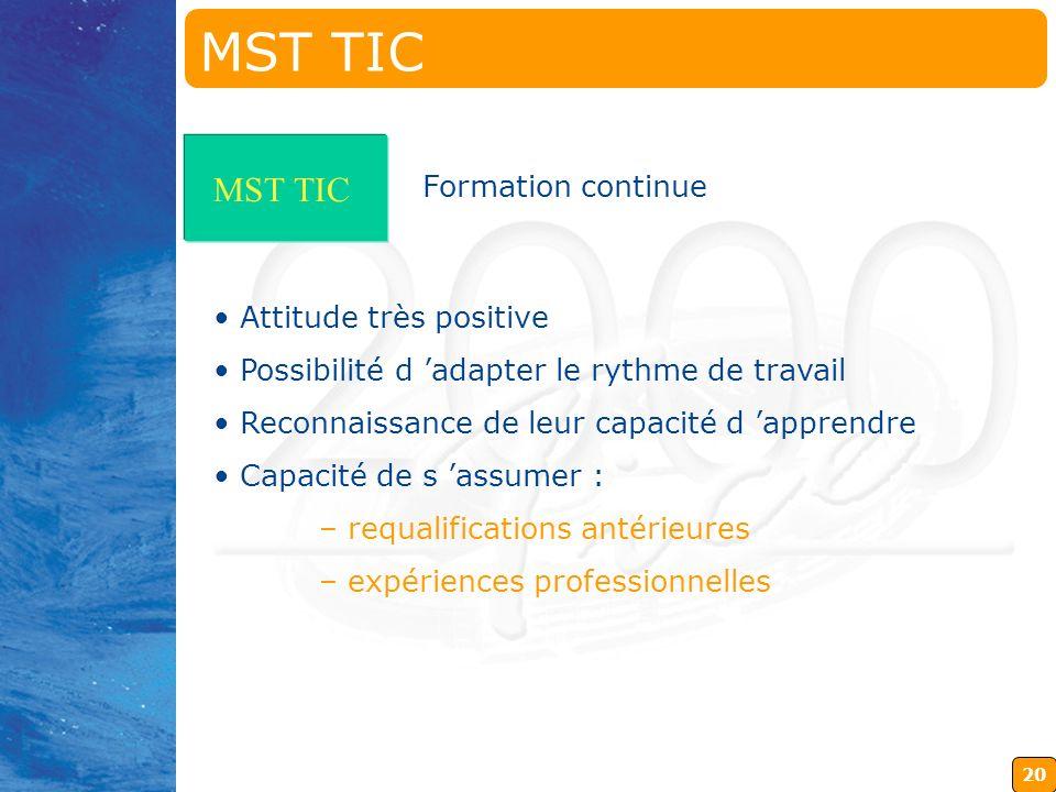 19 MST TIC Aide-éducateurs Acceptation par obligation (contrat initial) Manque de formation Démotivation due à leur situation MST TIC