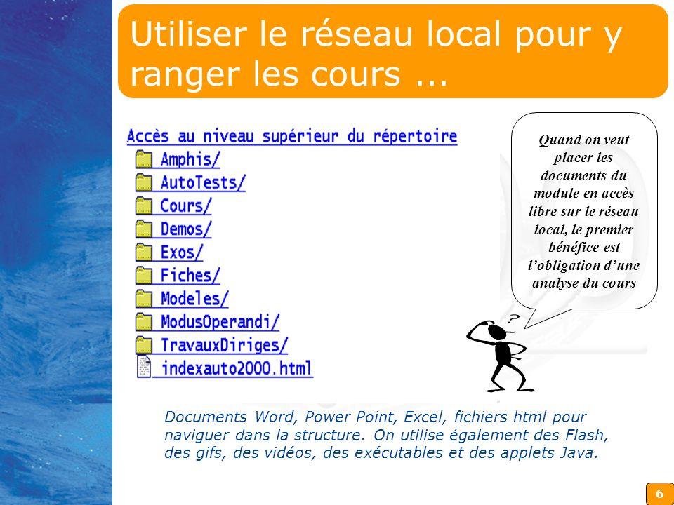 6 Documents Word, Power Point, Excel, fichiers html pour naviguer dans la structure.