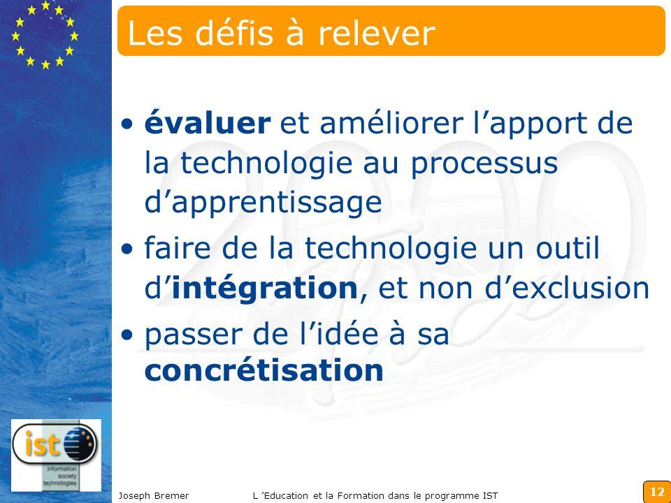 12 Joseph BremerL Education et la Formation dans le programme IST Les défis à relever évaluer et améliorer lapport de la technologie au processus dapp