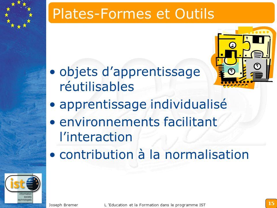 15 Joseph BremerL Education et la Formation dans le programme IST Plates-Formes et Outils objets dapprentissage réutilisables apprentissage individual