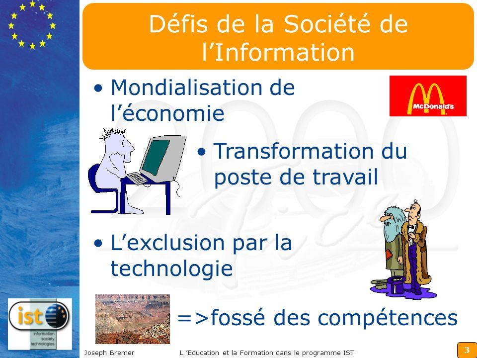 3 Joseph BremerL Education et la Formation dans le programme IST Défis de la Société de lInformation Mondialisation de léconomie Transformation du poste de travail Lexclusion par la technologie =>fossé des compétences