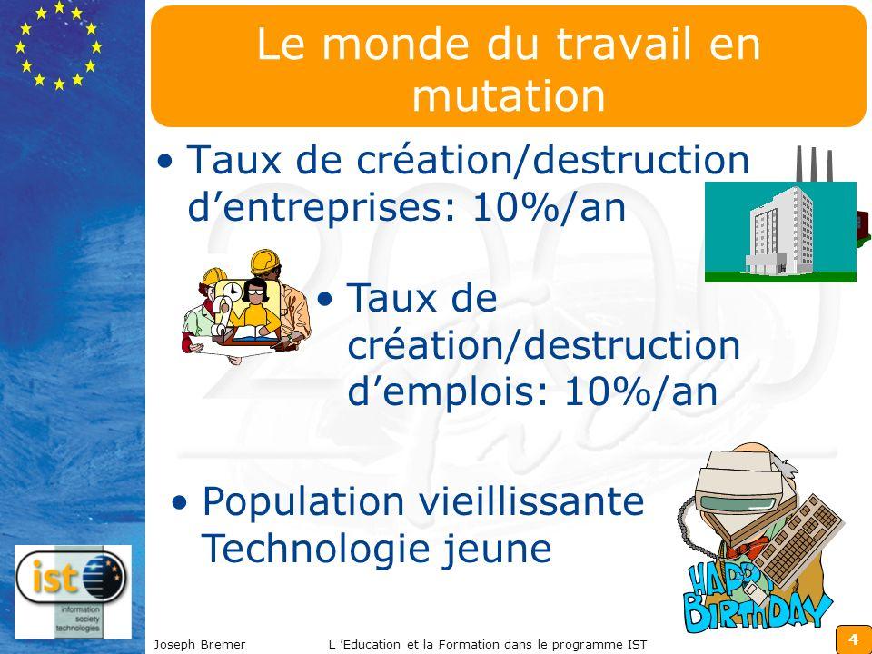 4 Joseph BremerL Education et la Formation dans le programme IST Le monde du travail en mutation Taux de création/destruction dentreprises: 10%/an Tau