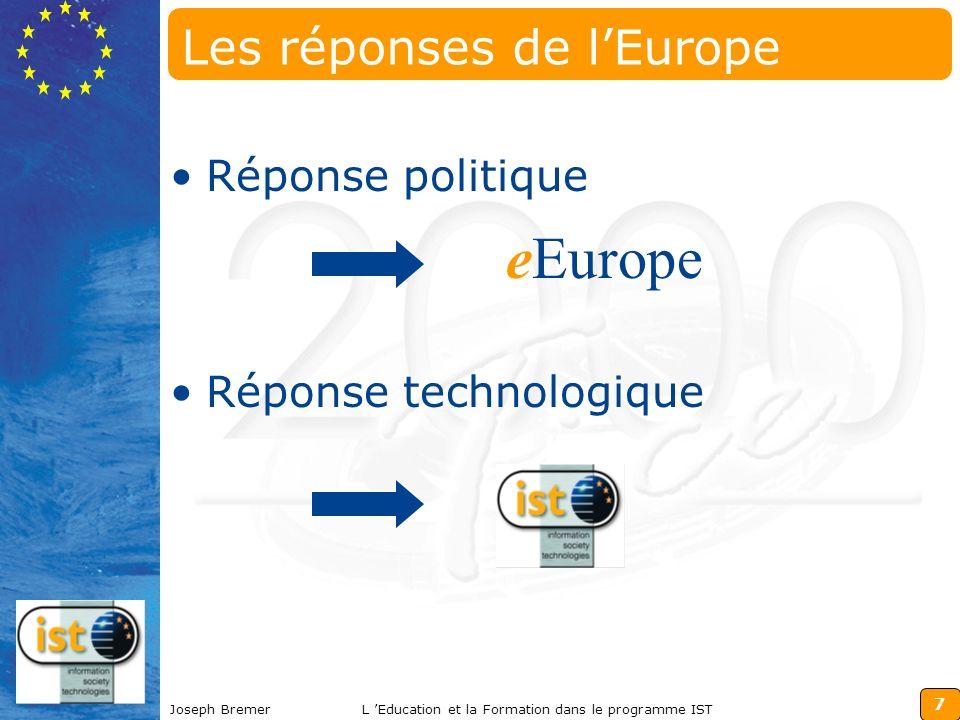 7 Joseph BremerL Education et la Formation dans le programme IST Les réponses de lEurope Réponse politique Réponse technologique eEurope