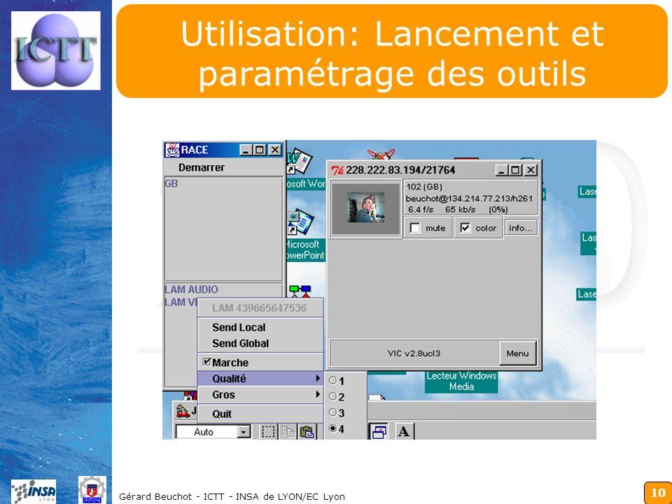 10 Gérard Beuchot - ICTT - INSA de LYON/EC Lyon Utilisation: Lancement et paramétrage des outils