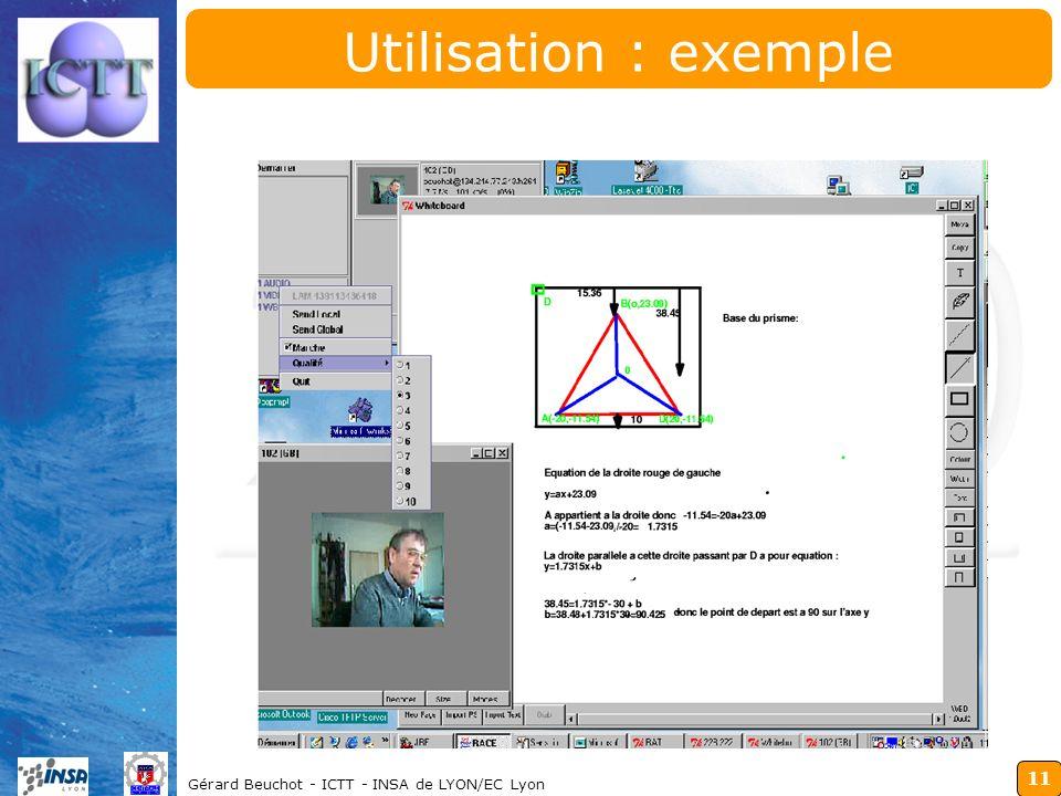 11 Gérard Beuchot - ICTT - INSA de LYON/EC Lyon Utilisation : exemple