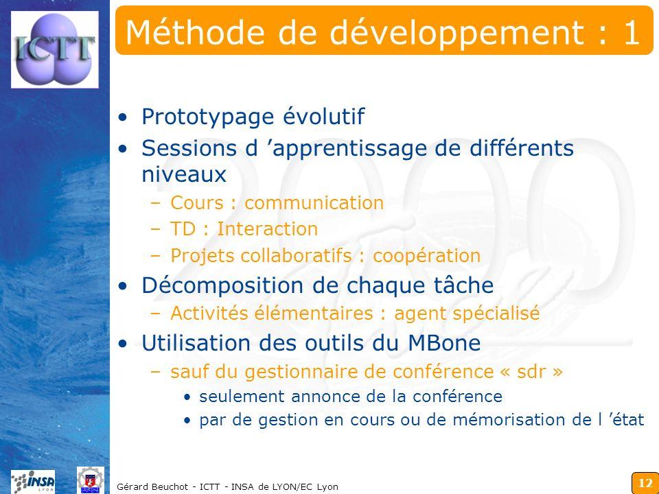 12 Gérard Beuchot - ICTT - INSA de LYON/EC Lyon Méthode de développement : 1 Prototypage évolutif Sessions d apprentissage de différents niveaux –Cour