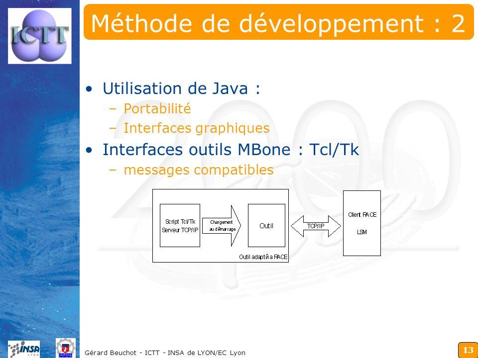 13 Gérard Beuchot - ICTT - INSA de LYON/EC Lyon Méthode de développement : 2 Utilisation de Java : –Portabilité –Interfaces graphiques Interfaces outi