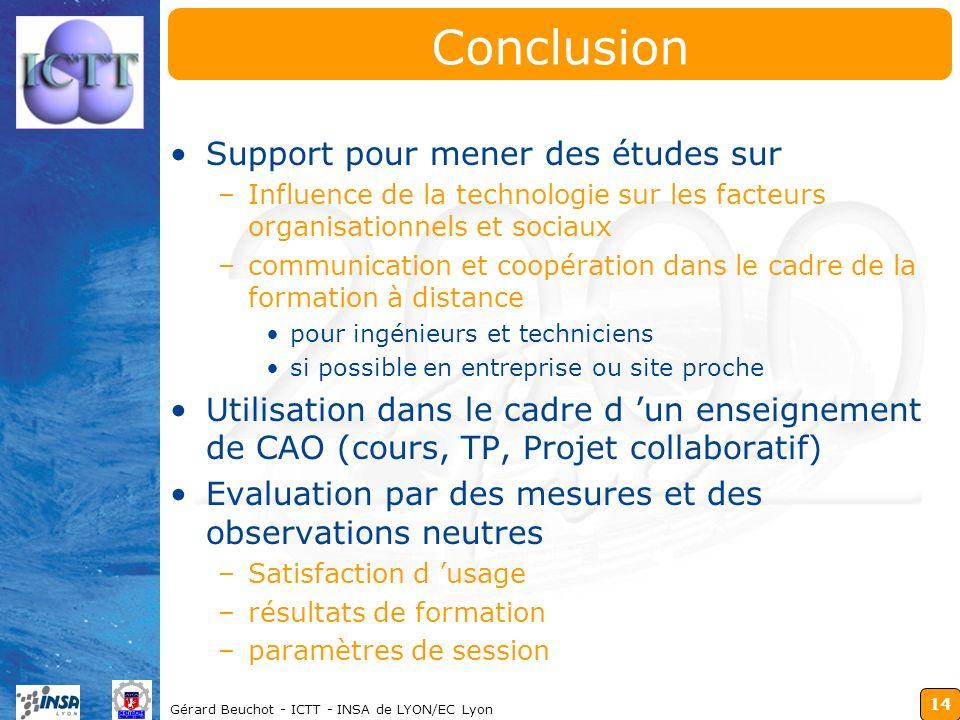 14 Gérard Beuchot - ICTT - INSA de LYON/EC Lyon Conclusion Support pour mener des études sur –Influence de la technologie sur les facteurs organisatio