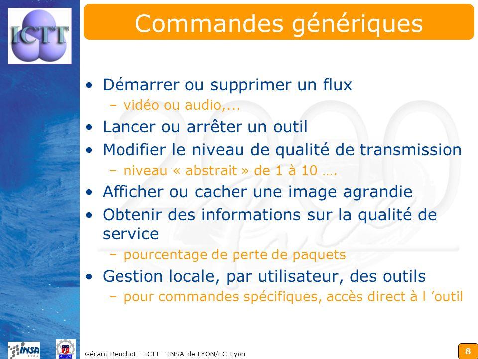 8 Gérard Beuchot - ICTT - INSA de LYON/EC Lyon Commandes génériques Démarrer ou supprimer un flux –vidéo ou audio,... Lancer ou arrêter un outil Modif