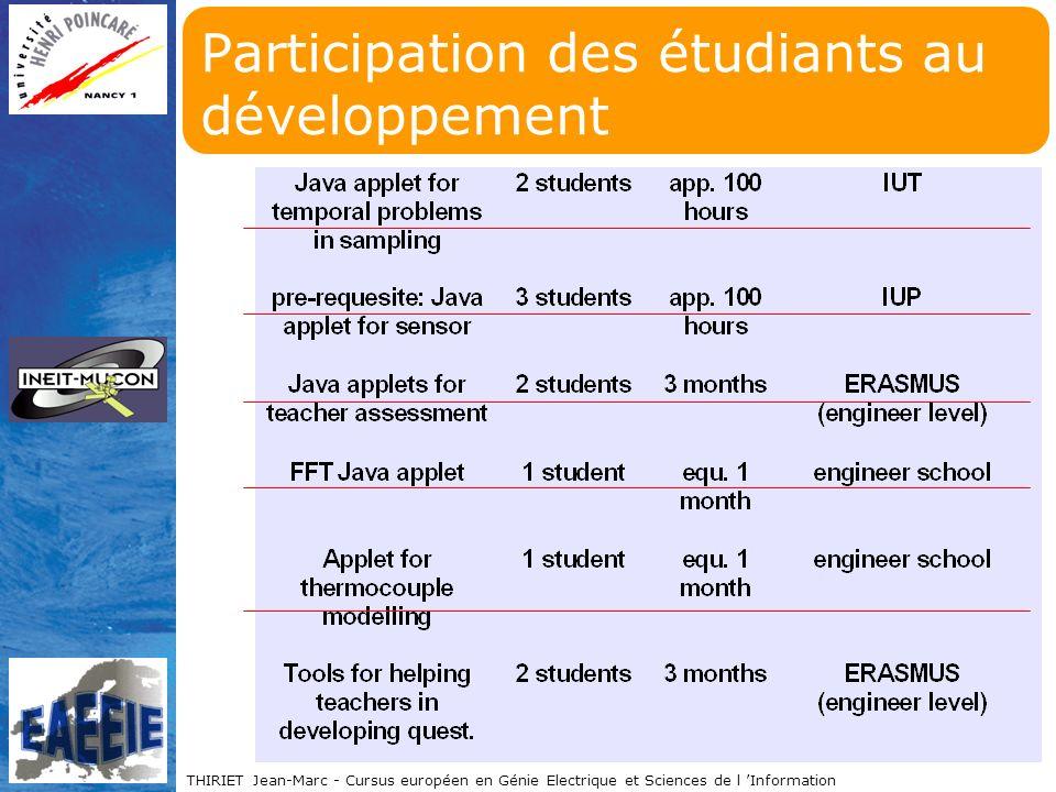 THIRIET Jean-Marc - Cursus européen en Génie Electrique et Sciences de l Information Participation des étudiants au développement