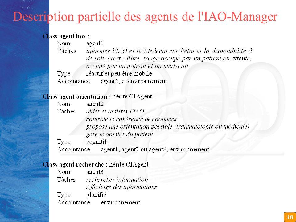 18 Description partielle des agents de l'IAO-Manager