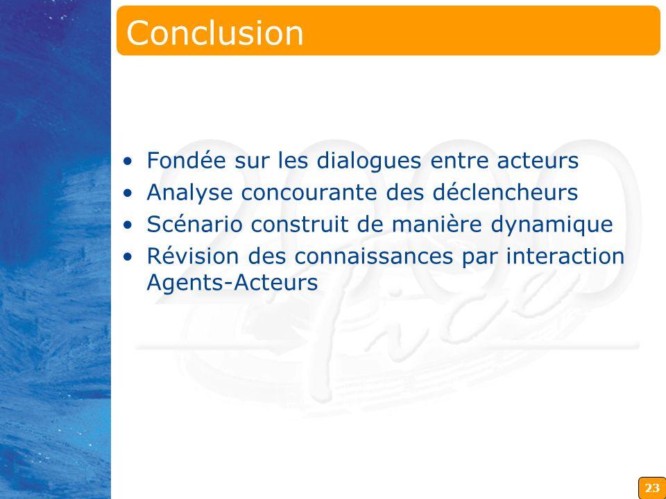 23 Conclusion Fondée sur les dialogues entre acteurs Analyse concourante des déclencheurs Scénario construit de manière dynamique Révision des connais