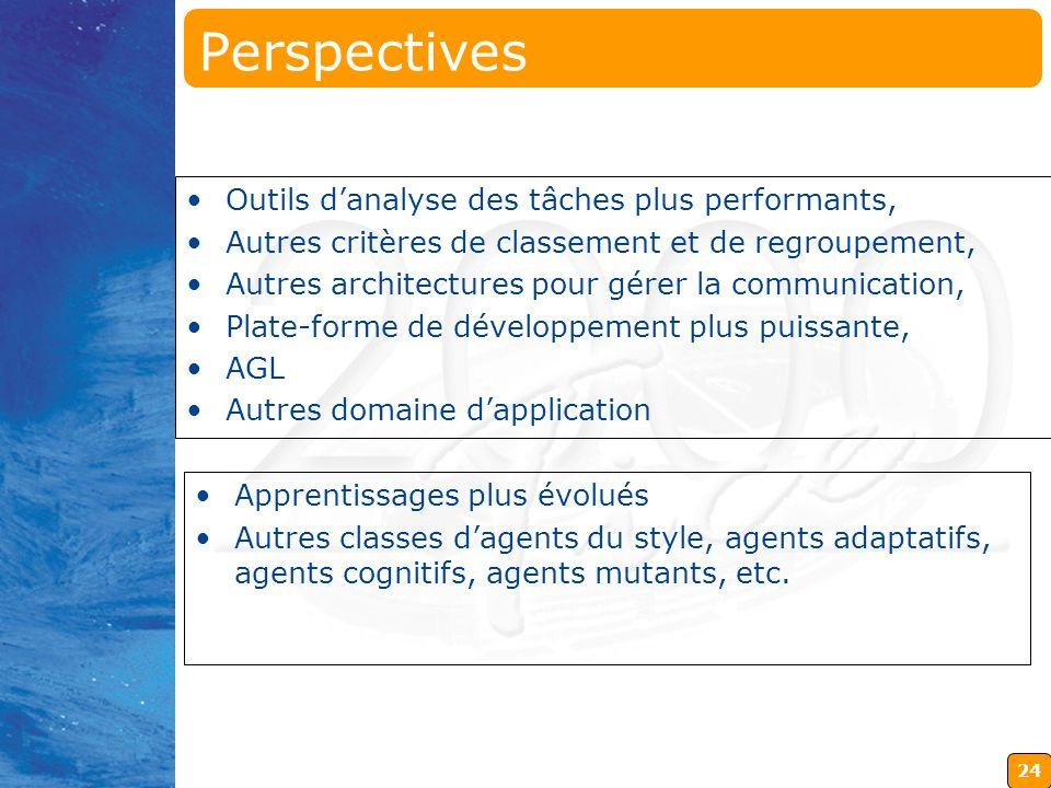 24 Perspectives Outils danalyse des tâches plus performants, Autres critères de classement et de regroupement, Autres architectures pour gérer la comm