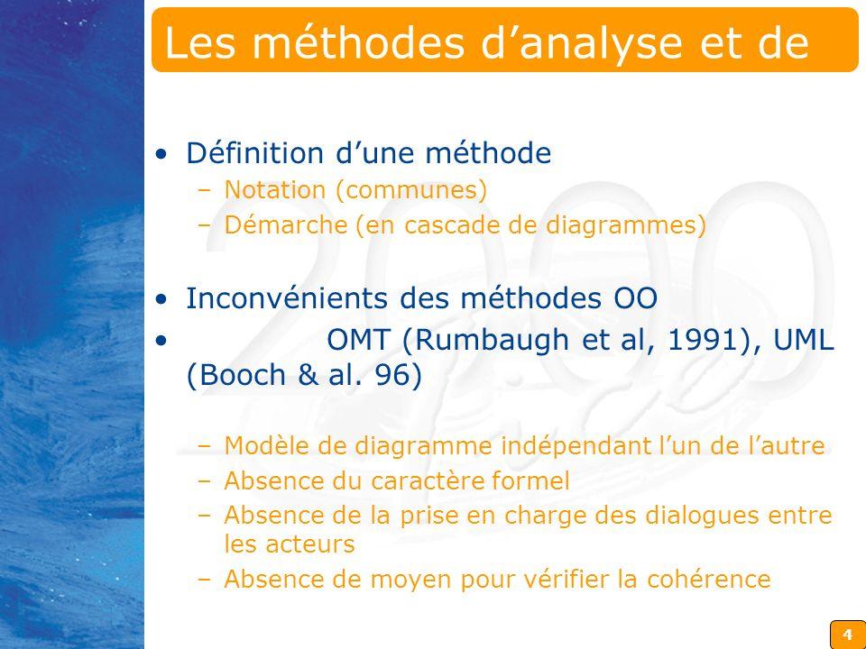4 Les méthodes danalyse et de conception (1) Définition dune méthode –Notation (communes) –Démarche (en cascade de diagrammes) Inconvénients des métho