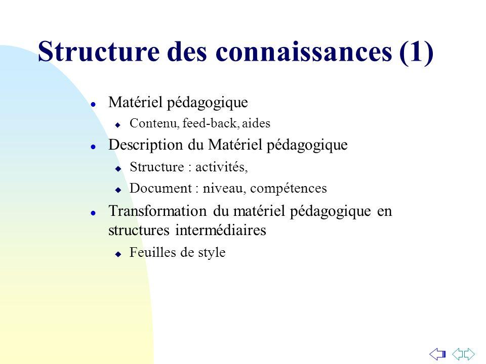 l Matériel pédagogique u Contenu, feed-back, aides l Description du Matériel pédagogique u Structure : activités, u Document : niveau, compétences l T