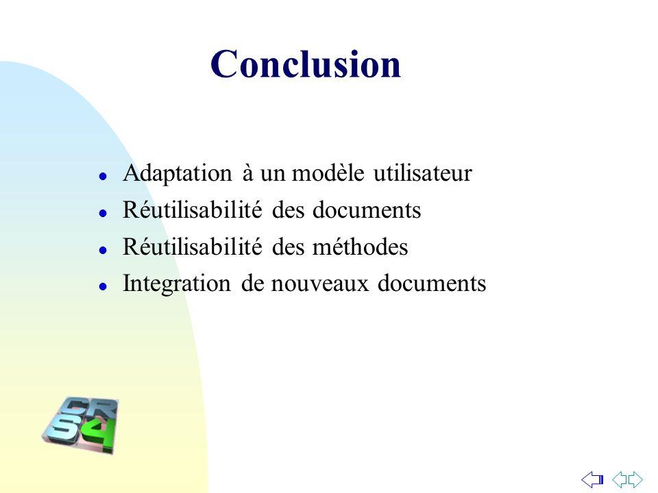 Conclusion l Adaptation à un modèle utilisateur l Réutilisabilité des documents l Réutilisabilité des méthodes l Integration de nouveaux documents