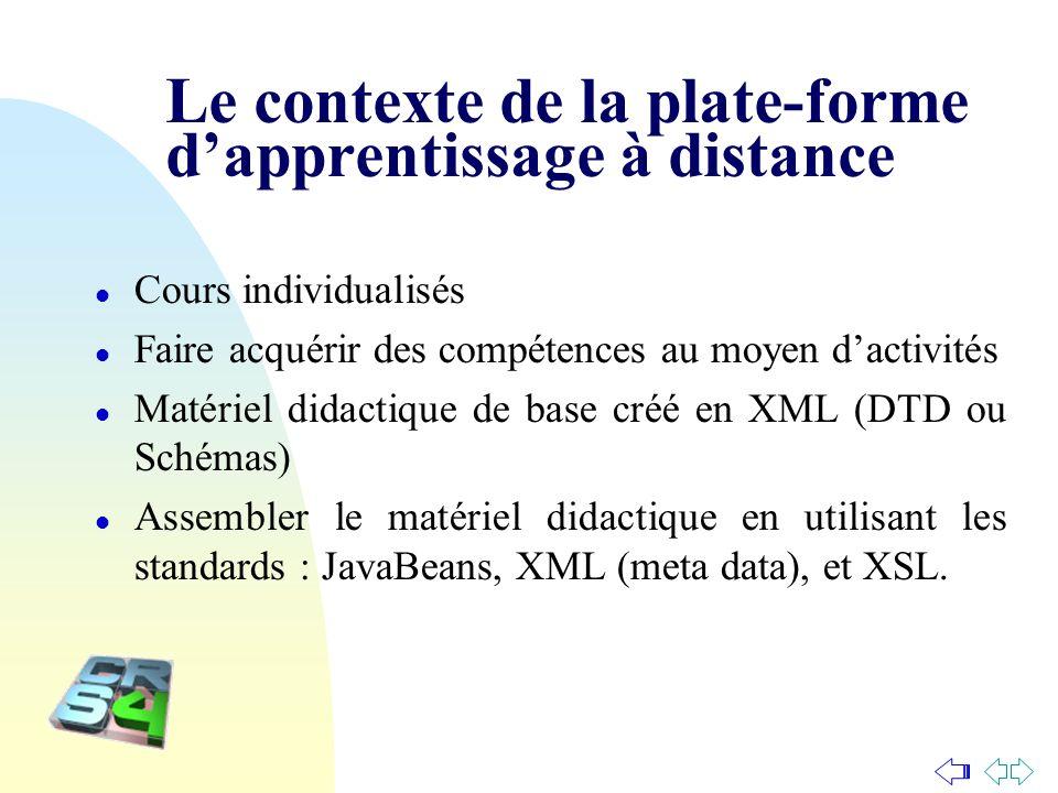 Le contexte de la plate-forme dapprentissage à distance l Cours individualisés l Faire acquérir des compétences au moyen dactivités l Matériel didacti