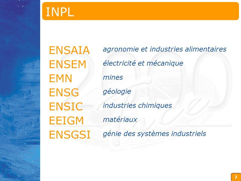 2 ENSAIA agronomie et industries alimentaires ENSEM électricité et mécanique EMN mines ENSG géologie ENSIC industries chimiques EEIGM matériaux ENSGSI génie des systèmes industriels INPL