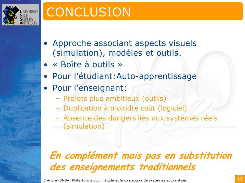 12 C André (UNSA) Plate-forme pour létude et la conception de systèmes automatisés CONCLUSION Approche associant aspects visuels (simulation), modèles