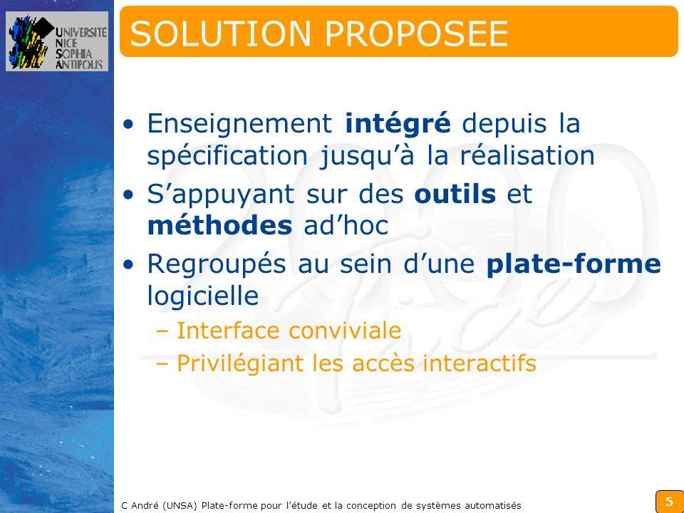 5 C André (UNSA) Plate-forme pour létude et la conception de systèmes automatisés SOLUTION PROPOSEE Enseignement intégré depuis la spécification jusqu