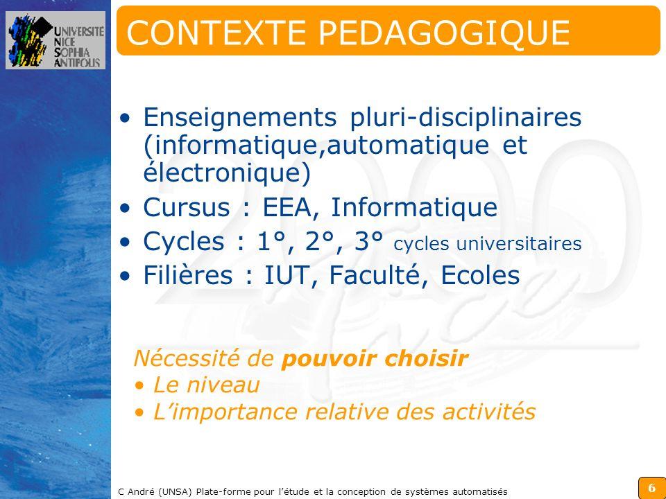 6 C André (UNSA) Plate-forme pour létude et la conception de systèmes automatisés CONTEXTE PEDAGOGIQUE Enseignements pluri-disciplinaires (informatiqu