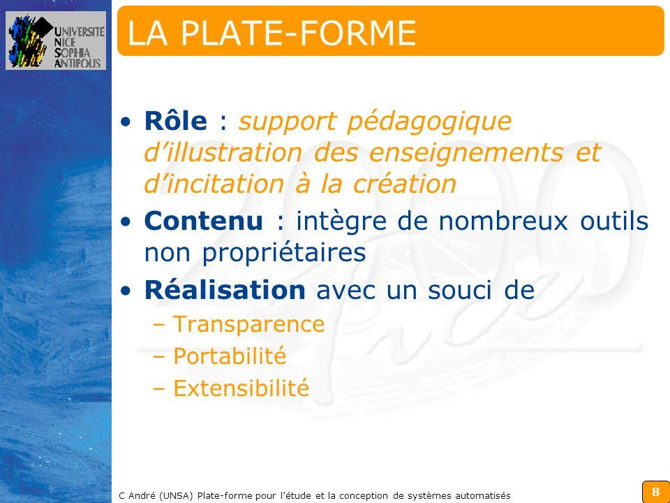 8 C André (UNSA) Plate-forme pour létude et la conception de systèmes automatisés LA PLATE-FORME Rôle : support pédagogique dillustration des enseigne