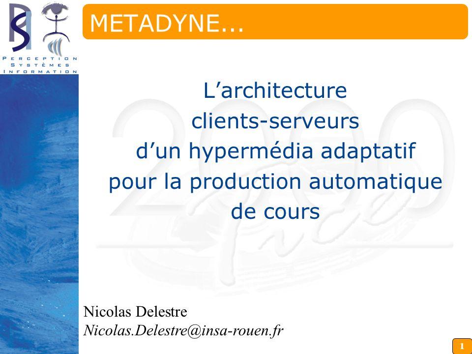1 Nicolas Delestre Nicolas.Delestre@insa-rouen.fr METADYNE... Larchitecture clients-serveurs dun hypermédia adaptatif pour la production automatique d
