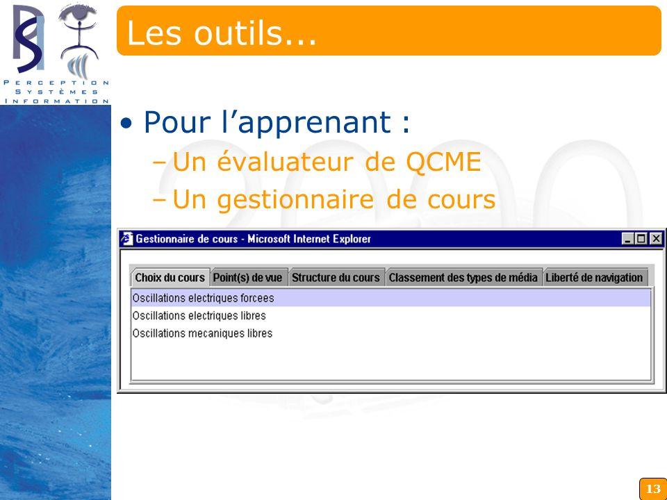 13 Deux applications qui communiquent constamment avec le serveur et le navigateur Les outils... Pour lapprenant : –Un évaluateur de QCME –Un gestionn
