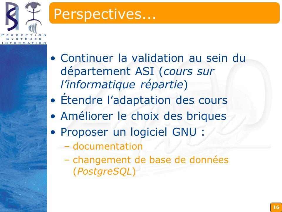 16 Perspectives... Continuer la validation au sein du département ASI (cours sur linformatique répartie) Étendre ladaptation des cours Améliorer le ch