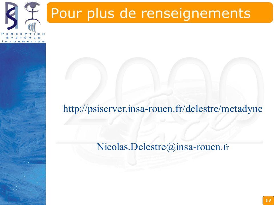 17 http://psiserver.insa-rouen.fr/delestre/metadyne Nicolas.Delestre@insa-rouen.fr Pour plus de renseignements