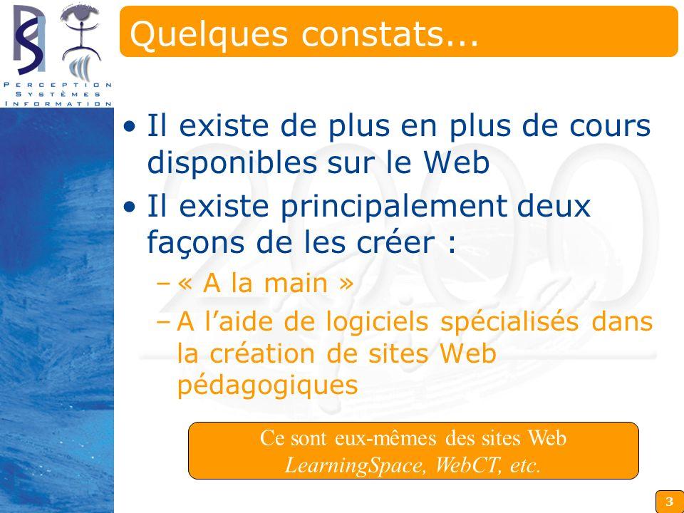 3 Ce sont eux-mêmes des sites Web LearningSpace, WebCT, etc. Quelques constats... Il existe de plus en plus de cours disponibles sur le Web Il existe