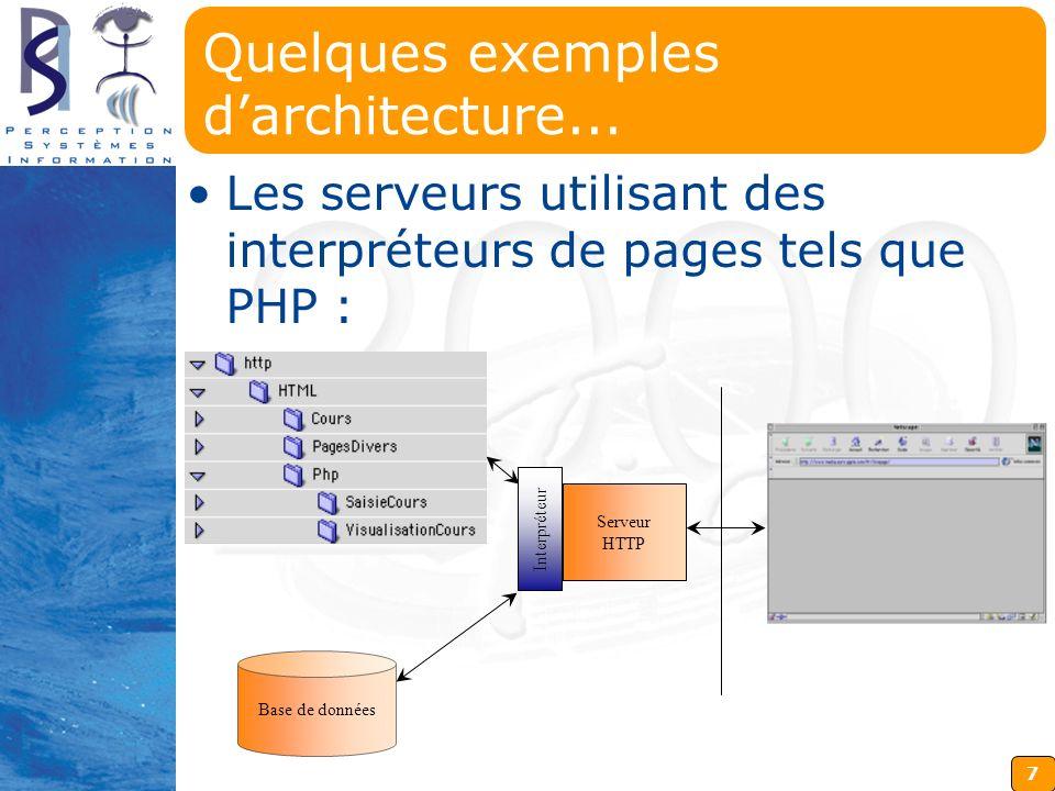 7 Quelques exemples darchitecture... Les serveurs utilisant des interpréteurs de pages tels que PHP : Base de données Serveur HTTP Interpréteur
