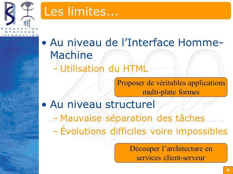 8 Les limites... Au niveau de lInterface Homme- Machine –Utilisation du HTML Au niveau structurel –Mauvaise séparation des tâches –Évolutions difficil