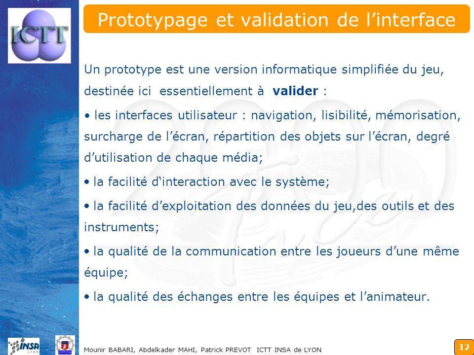 12 Mounir BABARI, Abdelkader MAHI, Patrick PREVOT ICTT INSA de LYON Prototypage et validation de linterface Un prototype est une version informatique