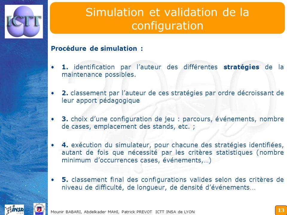 13 Mounir BABARI, Abdelkader MAHI, Patrick PREVOT ICTT INSA de LYON Simulation et validation de la configuration Procédure de simulation : 1. identifi