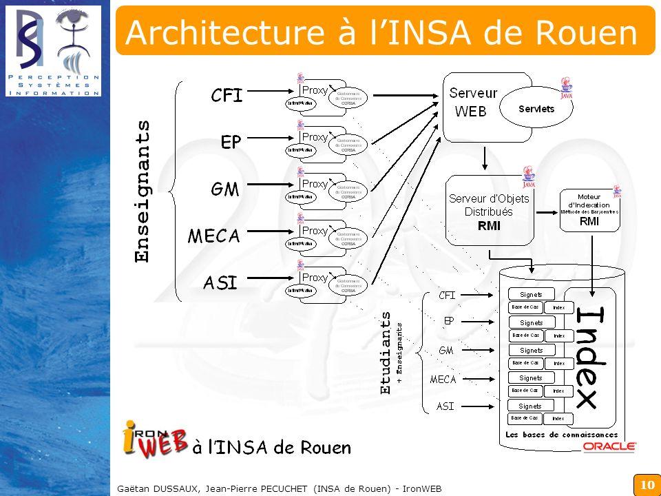 10 Gaëtan DUSSAUX, Jean-Pierre PECUCHET (INSA de Rouen) - IronWEB Architecture à lINSA de Rouen