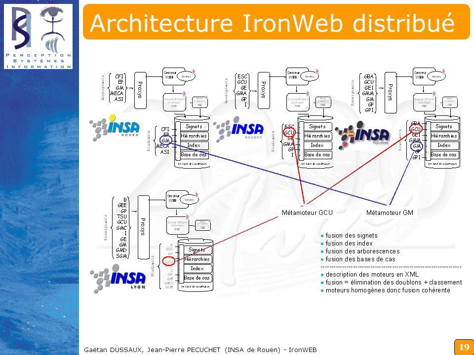 19 Gaëtan DUSSAUX, Jean-Pierre PECUCHET (INSA de Rouen) - IronWEB Architecture IronWeb distribué