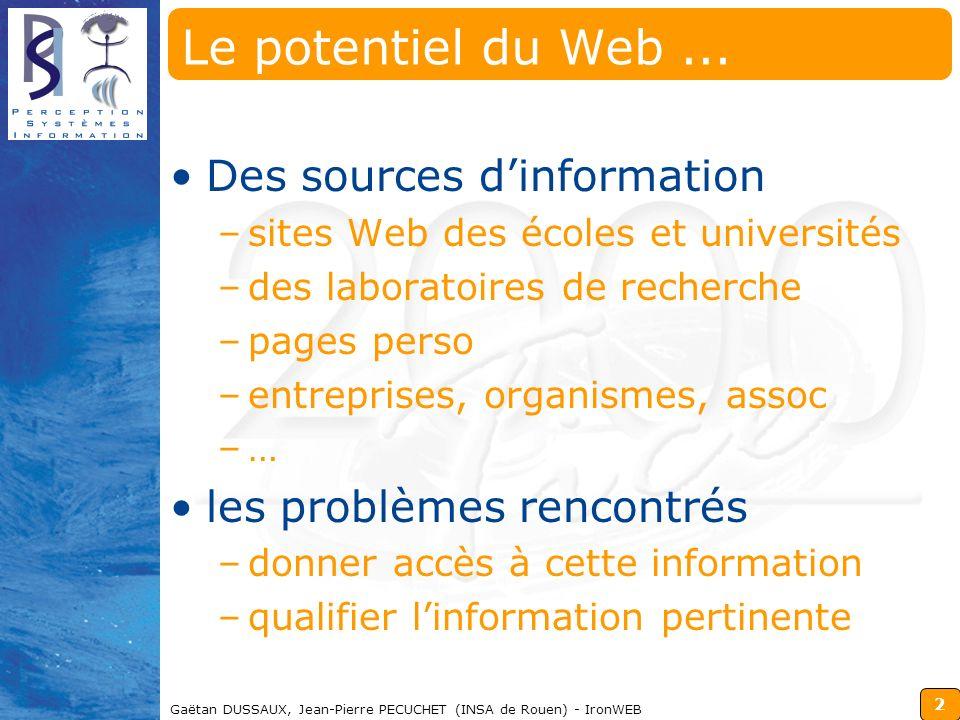 2 Gaëtan DUSSAUX, Jean-Pierre PECUCHET (INSA de Rouen) - IronWEB Le potentiel du Web... Des sources dinformation –sites Web des écoles et universités