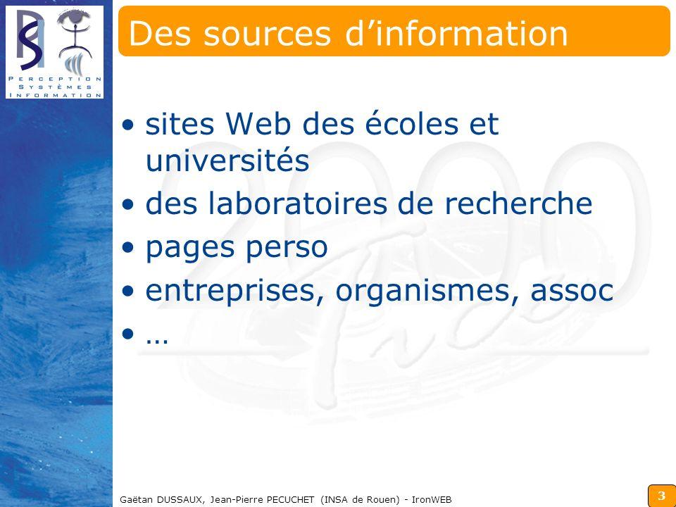 3 Gaëtan DUSSAUX, Jean-Pierre PECUCHET (INSA de Rouen) - IronWEB Des sources dinformation sites Web des écoles et universités des laboratoires de rech