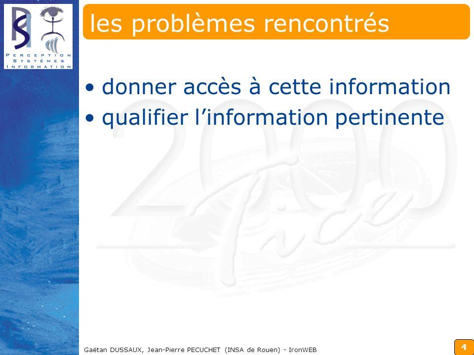 4 Gaëtan DUSSAUX, Jean-Pierre PECUCHET (INSA de Rouen) - IronWEB les problèmes rencontrés donner accès à cette information qualifier linformation pert