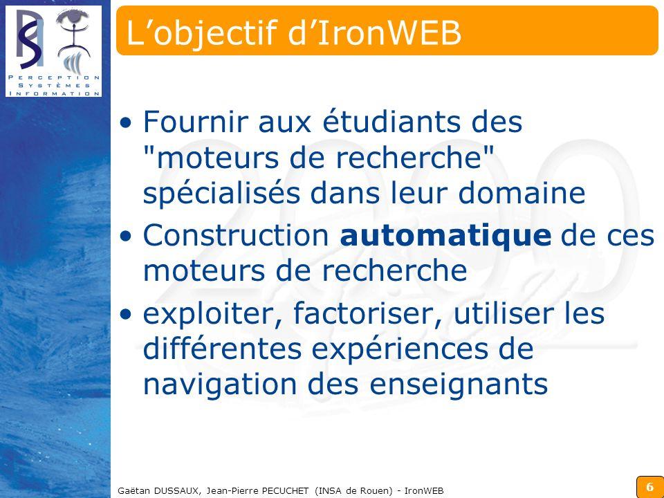 6 Gaëtan DUSSAUX, Jean-Pierre PECUCHET (INSA de Rouen) - IronWEB Lobjectif dIronWEB Fournir aux étudiants des