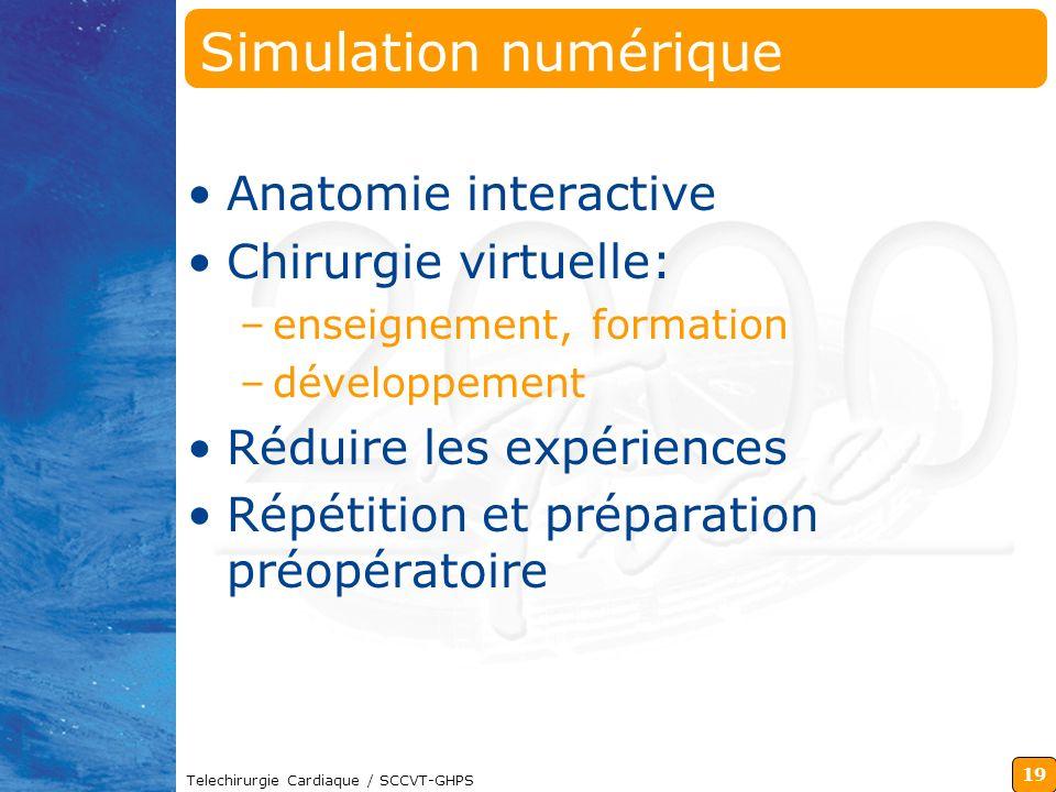 19 Telechirurgie Cardiaque / SCCVT-GHPS Simulation numérique Anatomie interactive Chirurgie virtuelle: –enseignement, formation –développement Réduire
