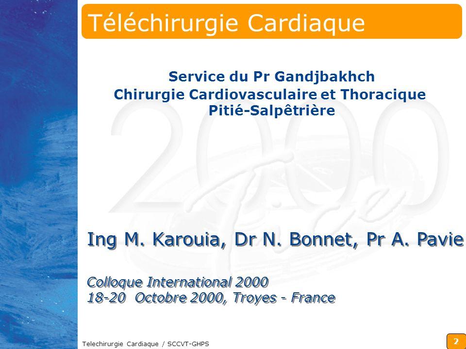 2 Telechirurgie Cardiaque / SCCVT-GHPS Colloque International 2000 18-20 Octobre 2000, Troyes - France Colloque International 2000 18-20 Octobre 2000,
