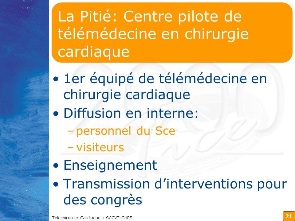 21 Telechirurgie Cardiaque / SCCVT-GHPS La Pitié: Centre pilote de télémédecine en chirurgie cardiaque 1er équipé de télémédecine en chirurgie cardiaq